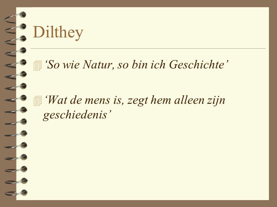 Dilthey 'So wie Natur, so bin ich Geschichte'