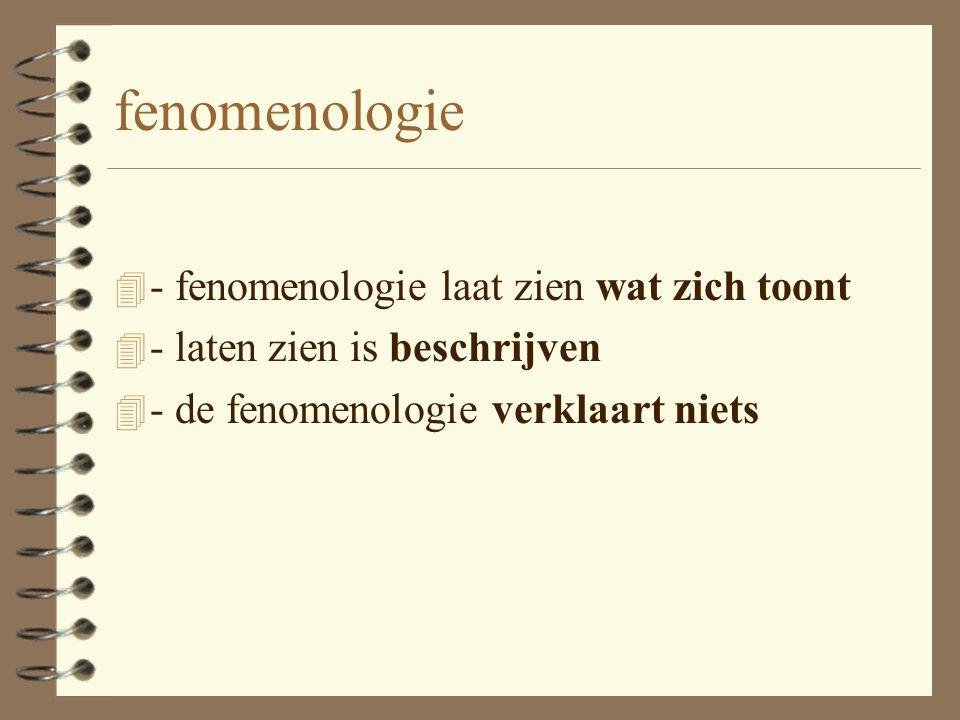 fenomenologie - fenomenologie laat zien wat zich toont