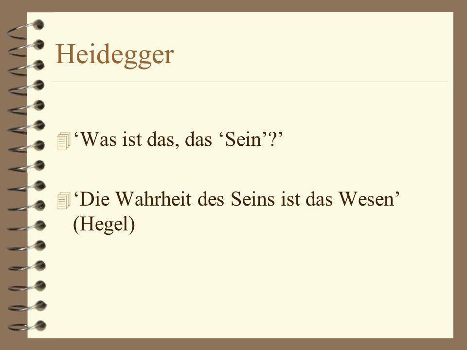 Heidegger 'Was ist das, das 'Sein' '