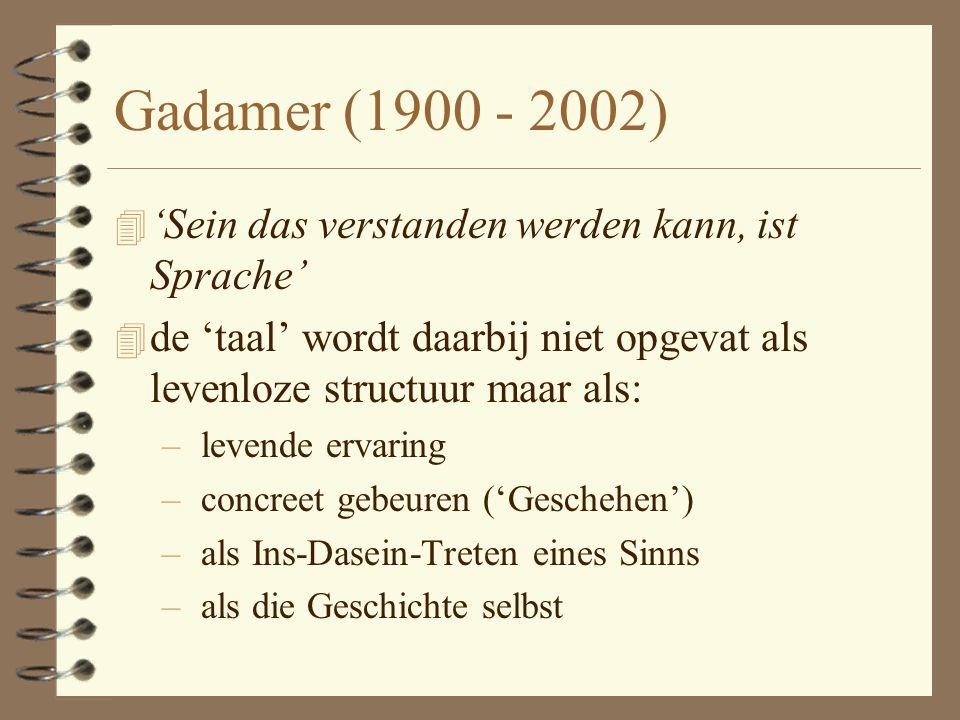 Gadamer (1900 - 2002) 'Sein das verstanden werden kann, ist Sprache'
