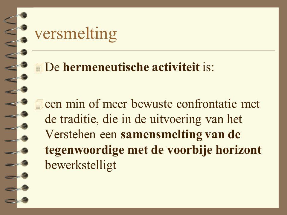 versmelting De hermeneutische activiteit is: