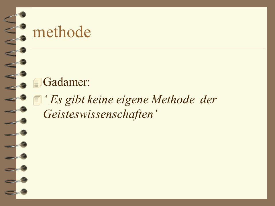 methode Gadamer: ' Es gibt keine eigene Methode der Geisteswissenschaften'