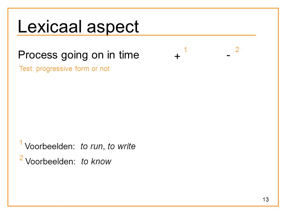 Lexicaal aspect Process going on in time + - Voorbeelden: