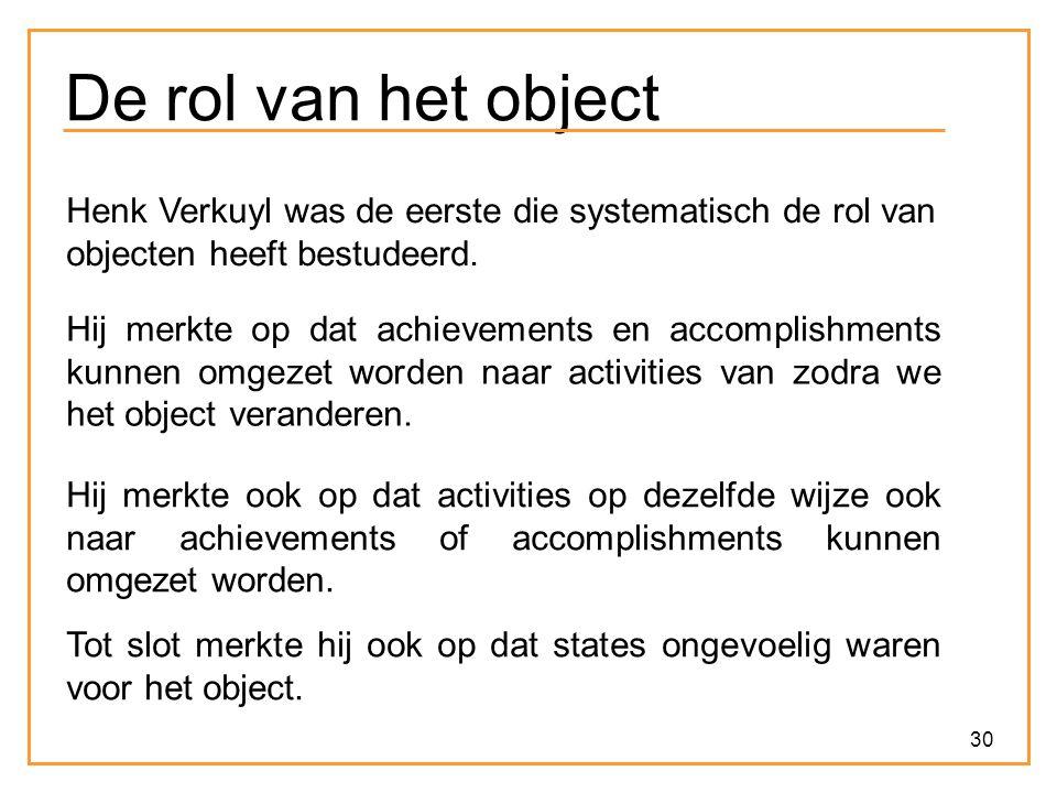 De rol van het object Henk Verkuyl was de eerste die systematisch de rol van objecten heeft bestudeerd.