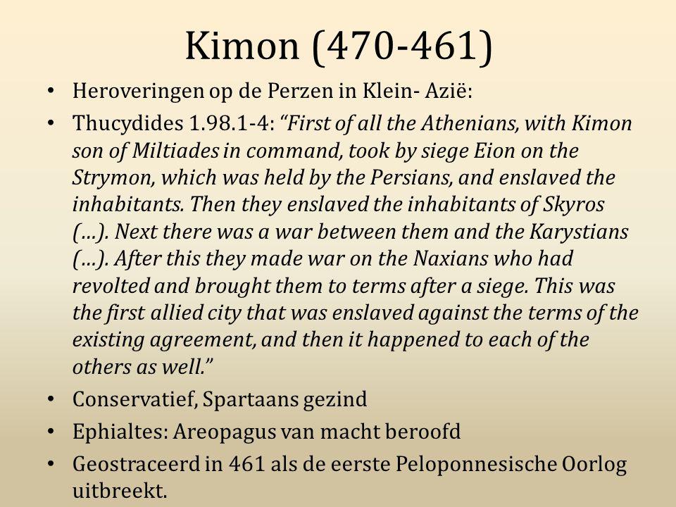 Kimon (470-461) Heroveringen op de Perzen in Klein- Azië: