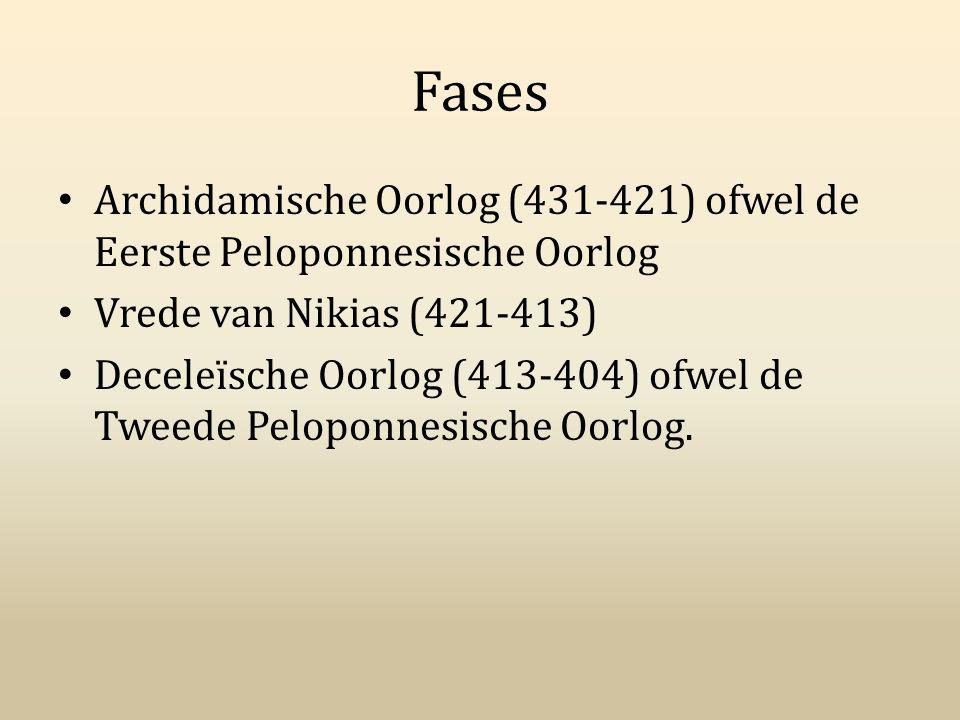 Fases Archidamische Oorlog (431-421) ofwel de Eerste Peloponnesische Oorlog. Vrede van Nikias (421-413)