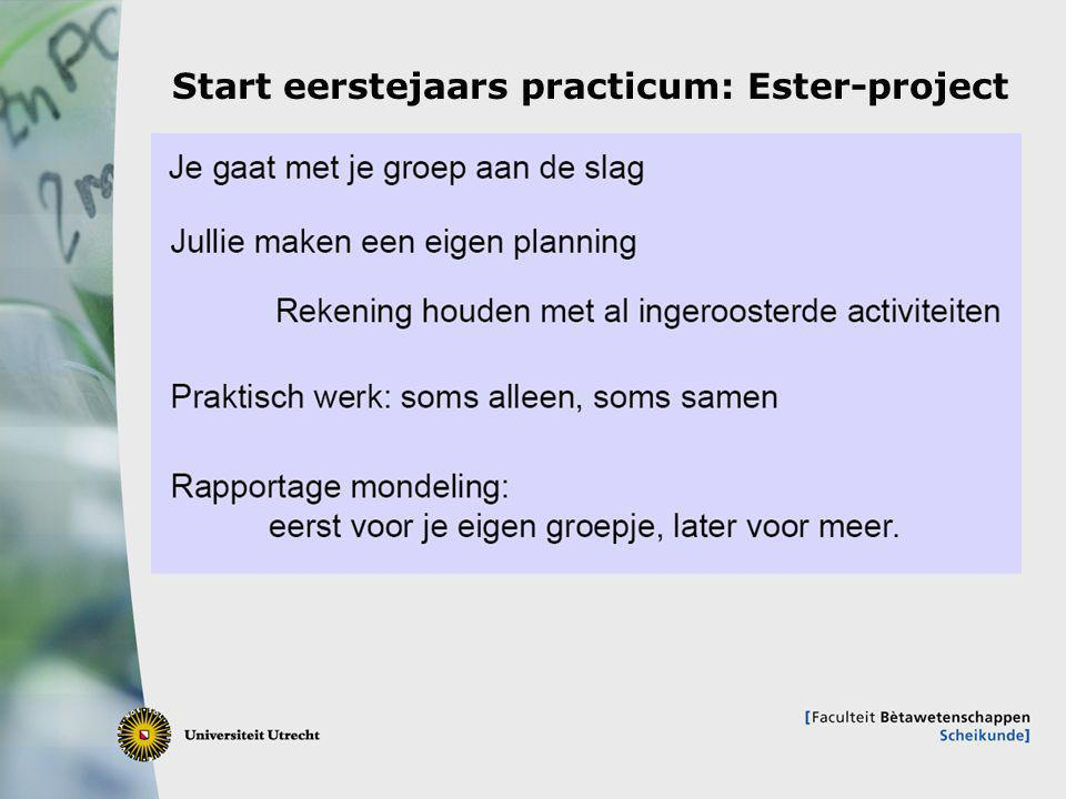 Start eerstejaars practicum: Ester-project