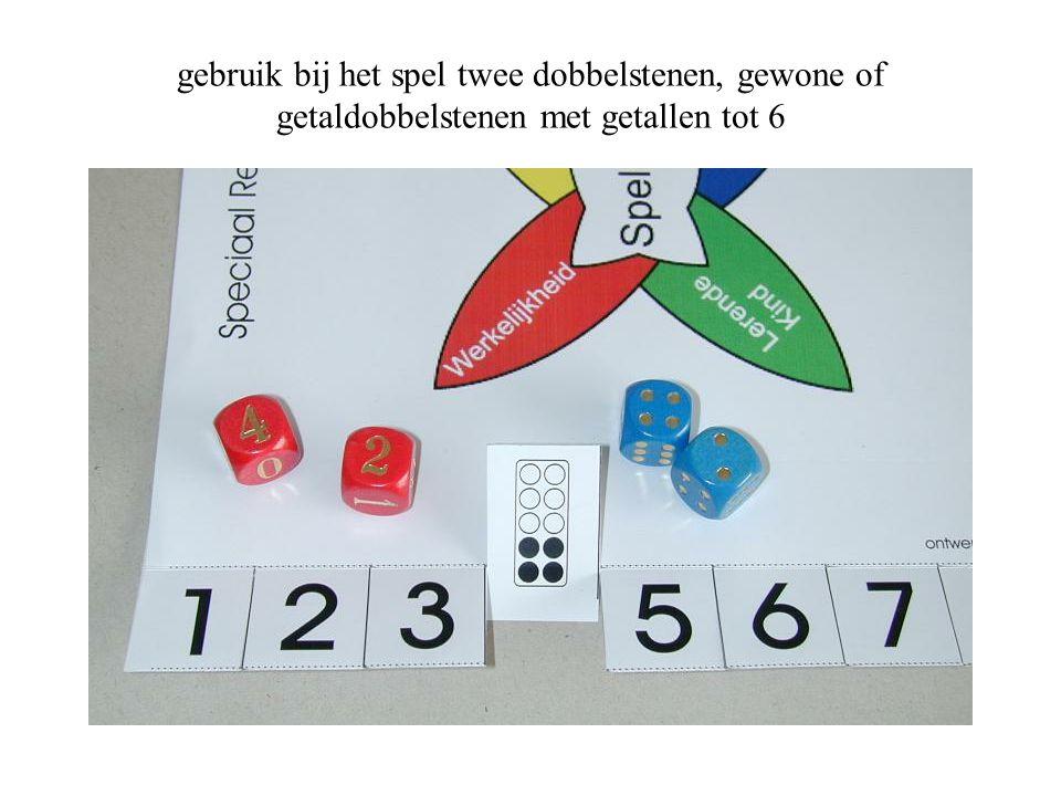 gebruik bij het spel twee dobbelstenen, gewone of getaldobbelstenen met getallen tot 6