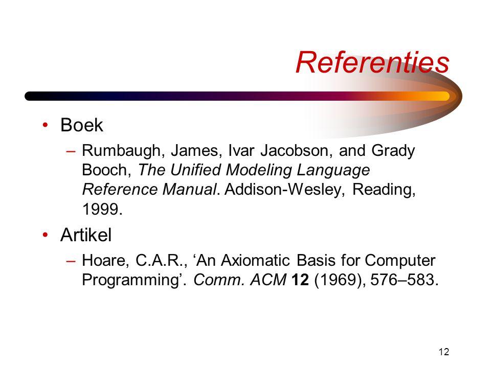 Referenties Boek Artikel