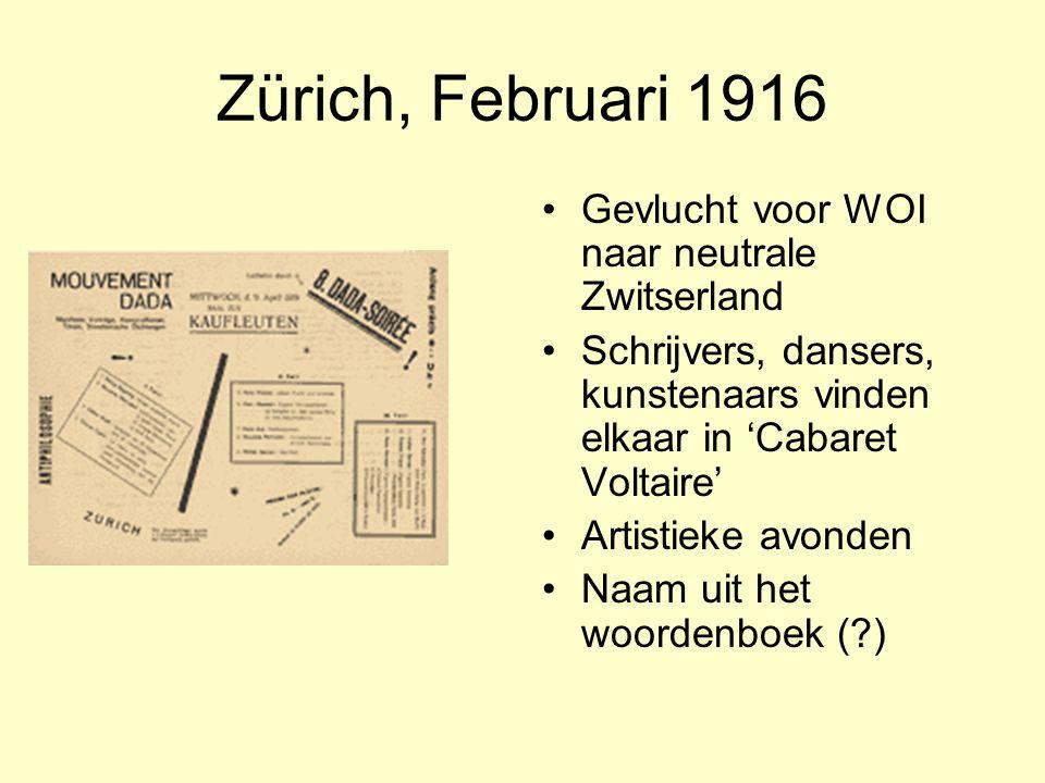 Zürich, Februari 1916 Gevlucht voor WOI naar neutrale Zwitserland