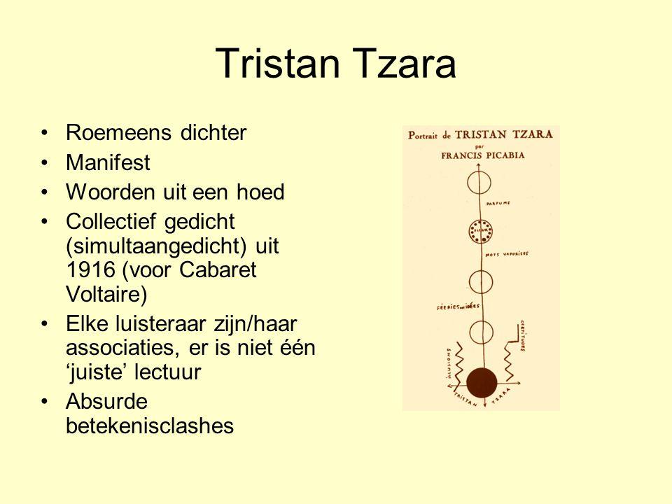 Tristan Tzara Roemeens dichter Manifest Woorden uit een hoed
