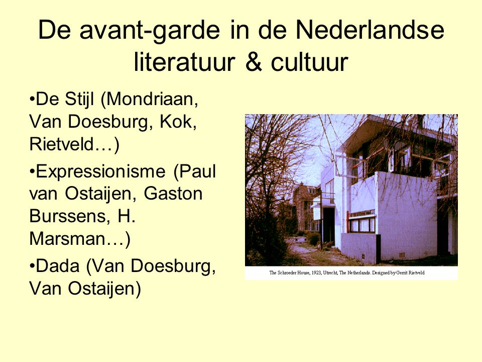 De avant-garde in de Nederlandse literatuur & cultuur