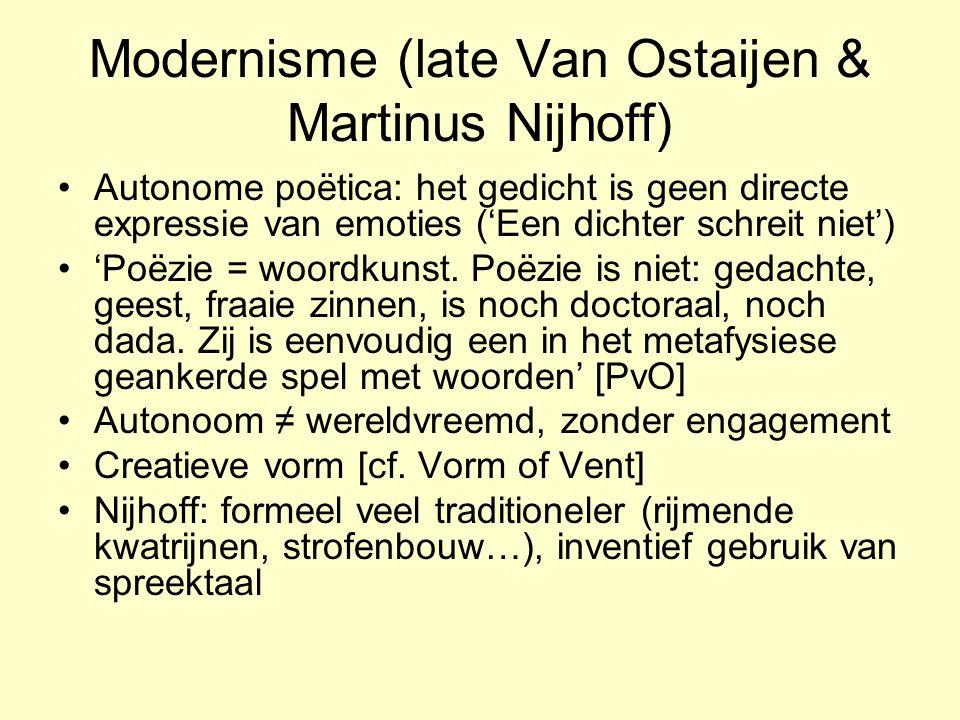 Modernisme (late Van Ostaijen & Martinus Nijhoff)