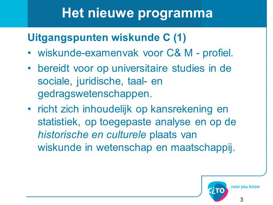 Het nieuwe programma Uitgangspunten wiskunde C (1)