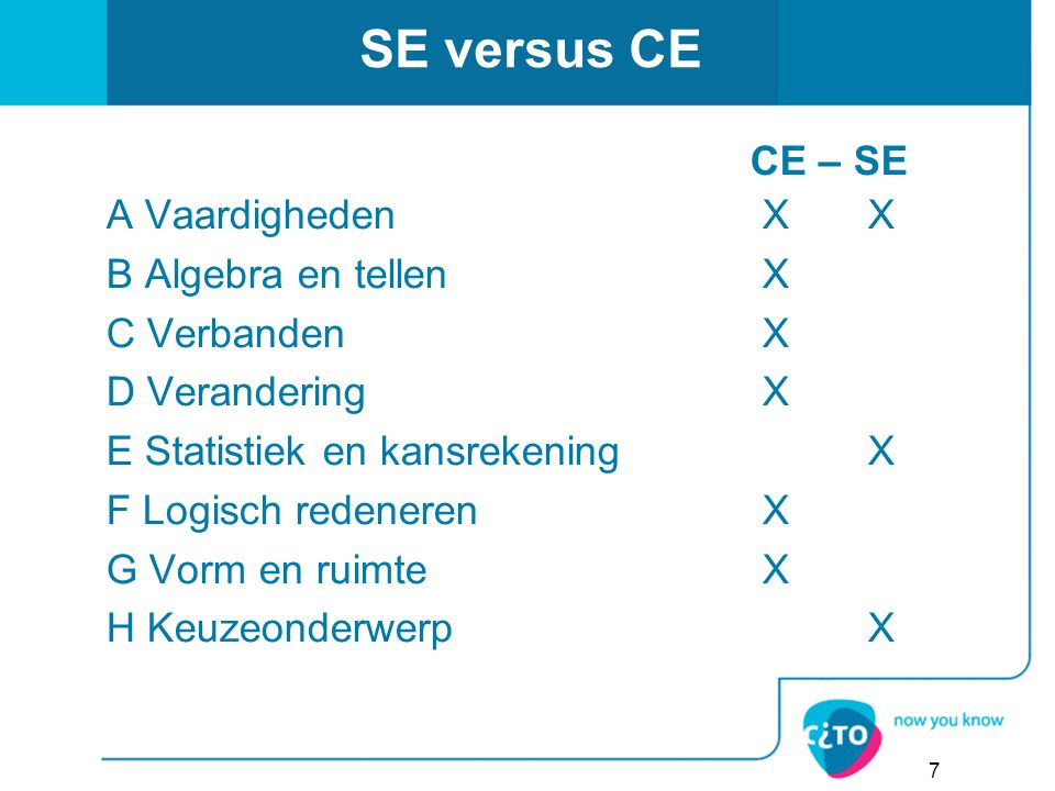 SE versus CE CE – SE A Vaardigheden X X B Algebra en tellen X