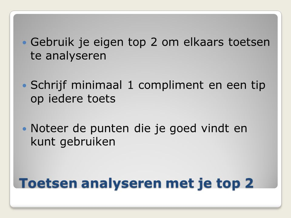 Toetsen analyseren met je top 2