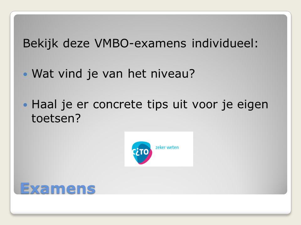 Examens Bekijk deze VMBO-examens individueel: