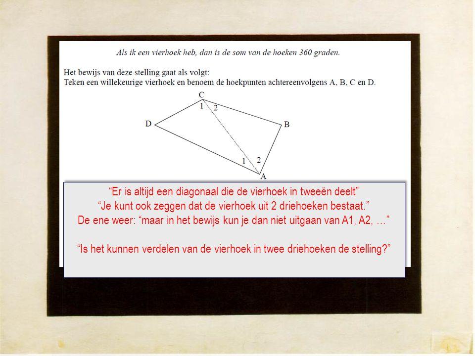 Er is altijd een diagonaal die de vierhoek in tweeën deelt