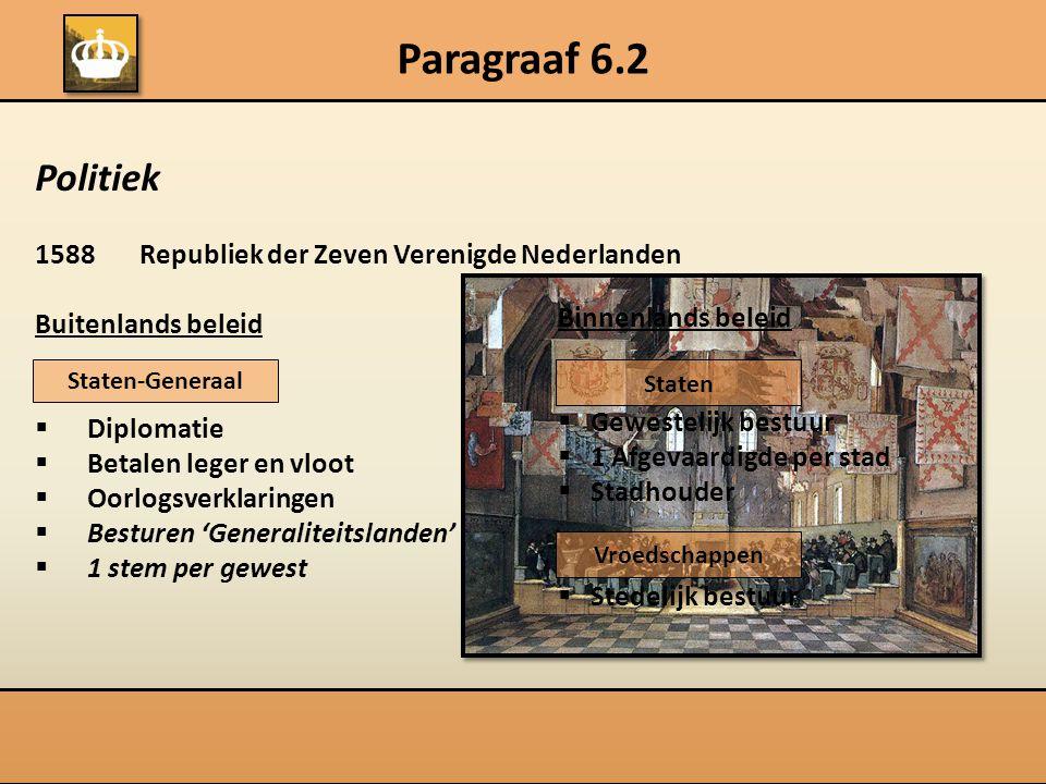 Paragraaf 6.2 Politiek 1588 Republiek der Zeven Verenigde Nederlanden