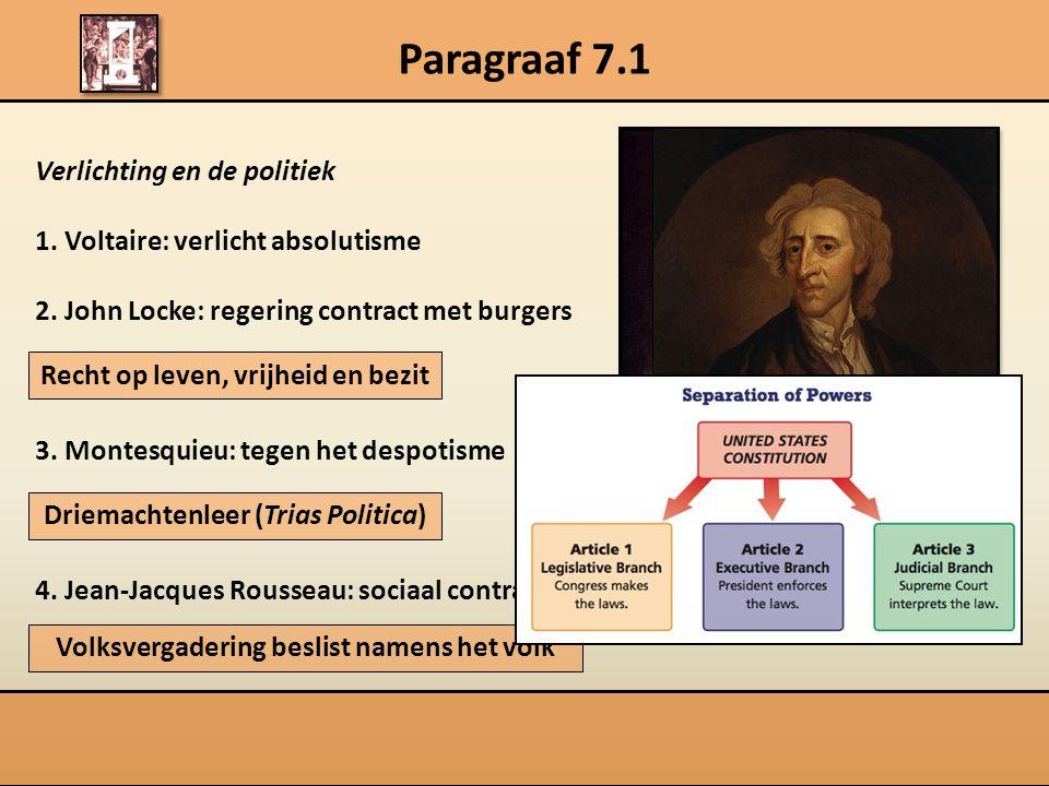 Paragraaf 7.1 Verlichting en de politiek
