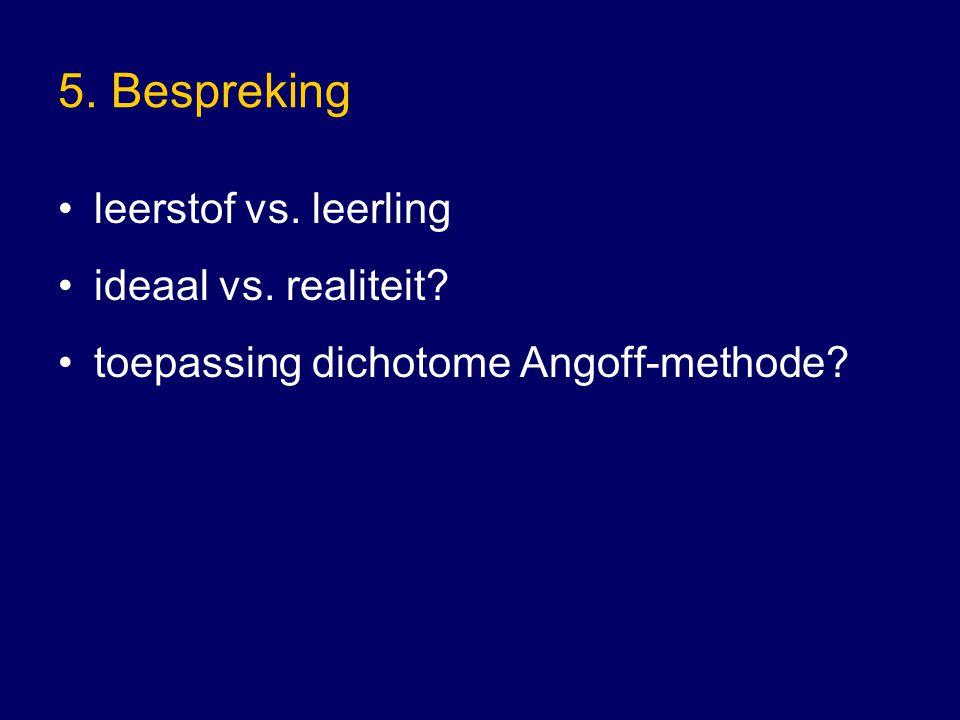 5. Bespreking leerstof vs. leerling ideaal vs. realiteit