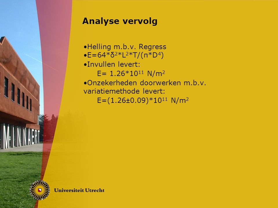 Analyse vervolg Helling m.b.v. Regress E=64*δ2*L2*T/(π*D4)