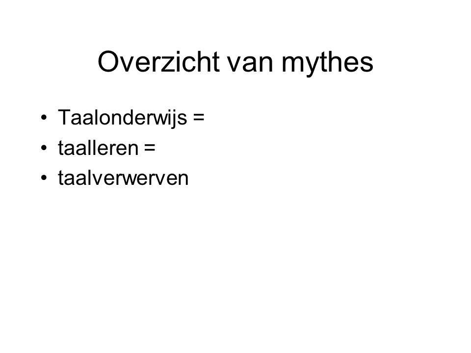 Overzicht van mythes Taalonderwijs = taalleren = taalverwerven