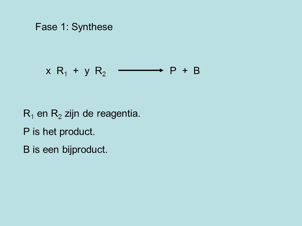 Fase 1: Synthese x R1 + y R2 P + B. R1 en R2 zijn de reagentia. P is het product.