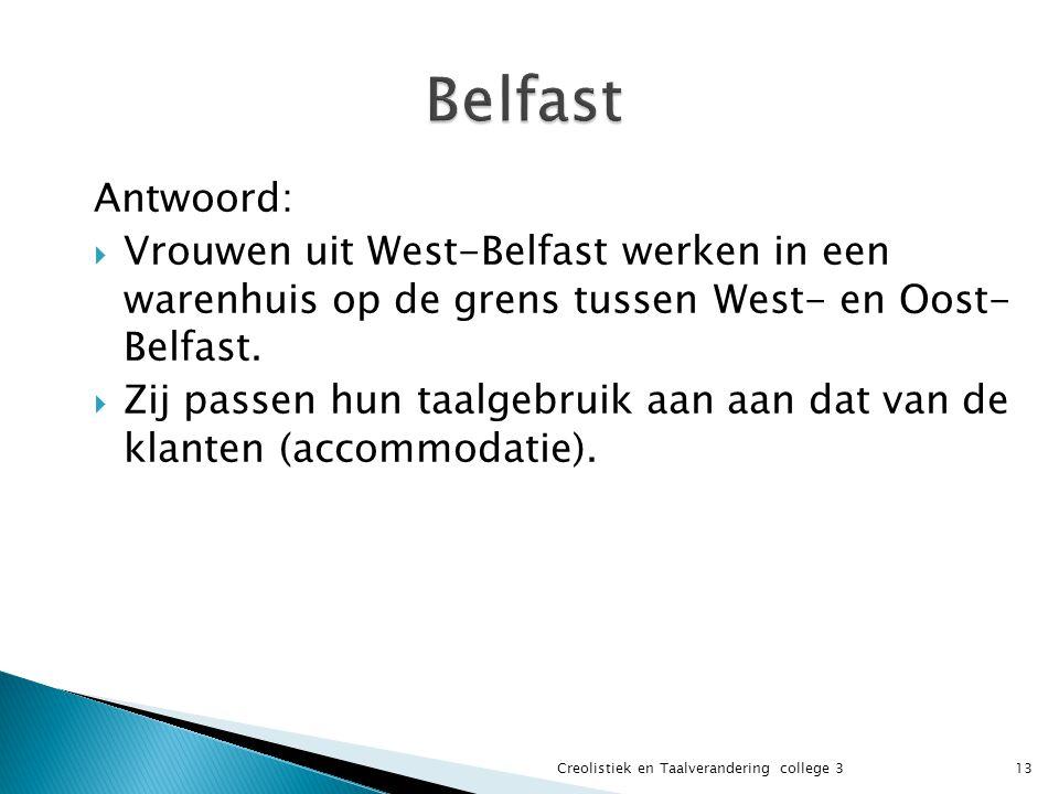 Belfast Antwoord: Vrouwen uit West-Belfast werken in een warenhuis op de grens tussen West- en Oost- Belfast.