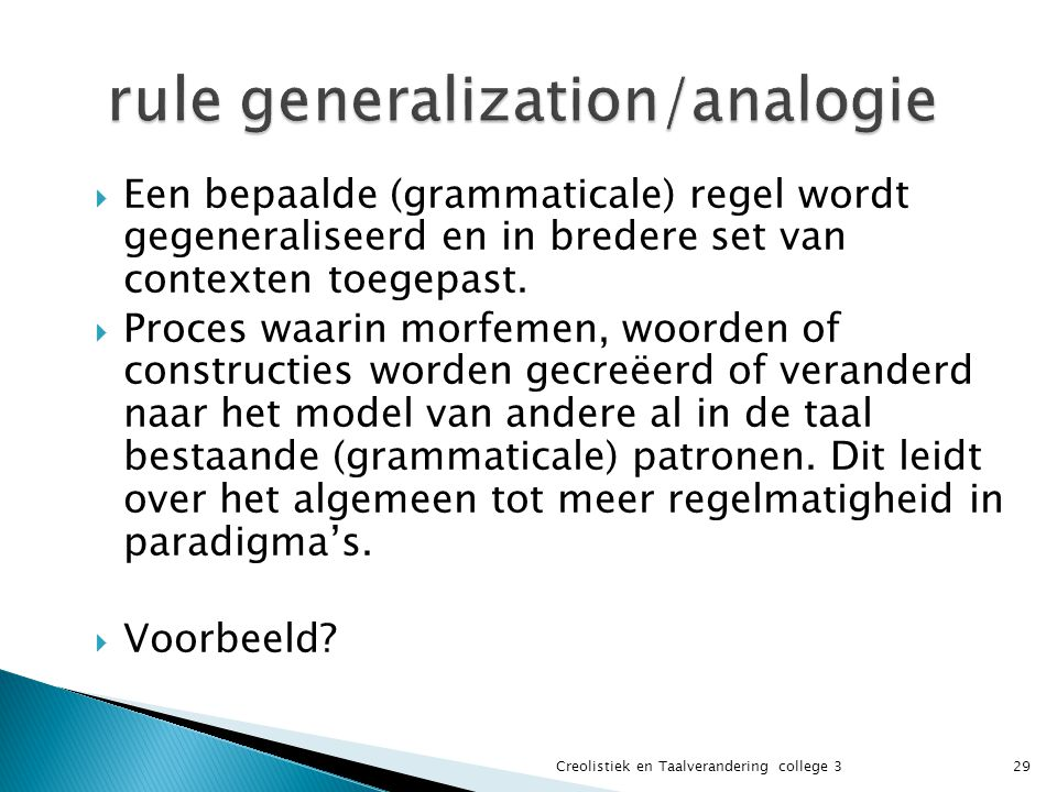 rule generalization/analogie
