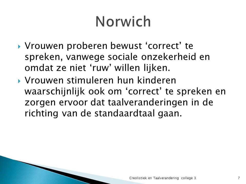 Norwich Vrouwen proberen bewust 'correct' te spreken, vanwege sociale onzekerheid en omdat ze niet 'ruw' willen lijken.