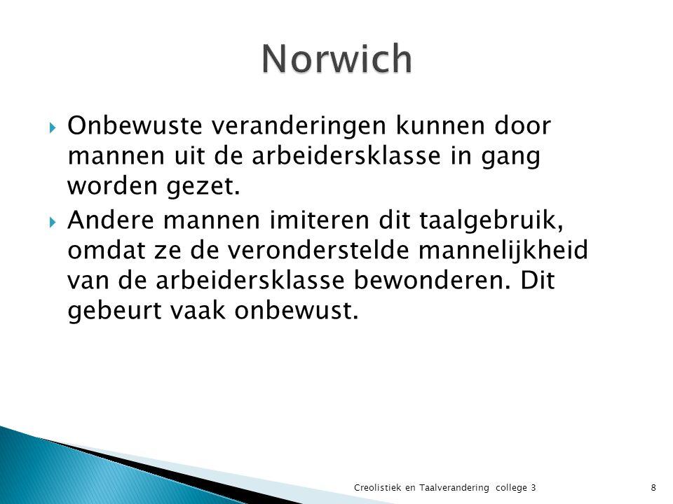 Norwich Onbewuste veranderingen kunnen door mannen uit de arbeidersklasse in gang worden gezet.