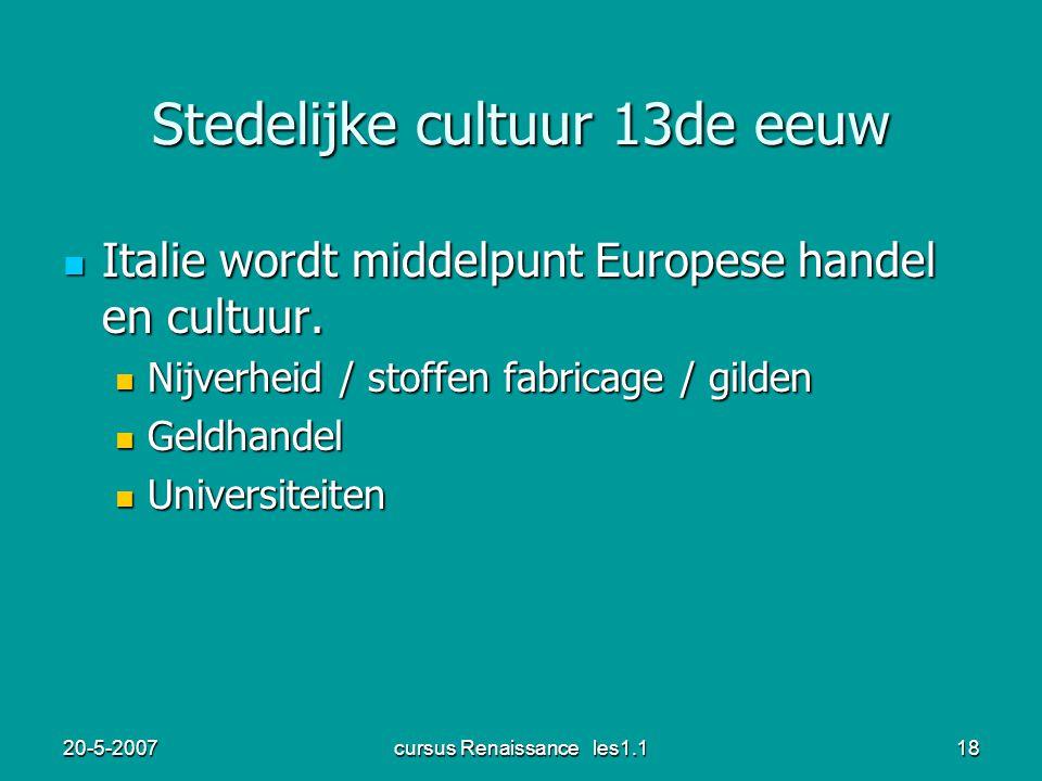 Stedelijke cultuur 13de eeuw