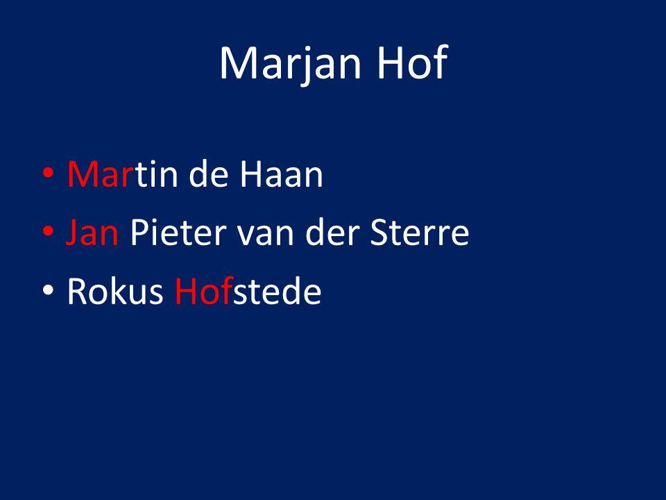 Marjan Hof Martin de Haan Jan Pieter van der Sterre Rokus Hofstede
