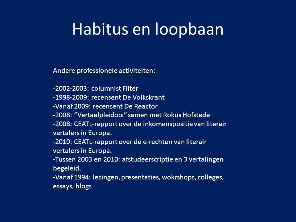Habitus en loopbaan Andere professionele activiteiten:
