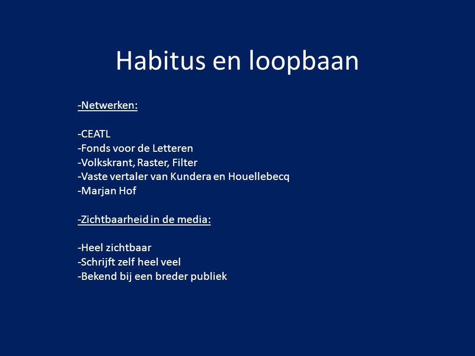 Habitus en loopbaan -Netwerken: -CEATL -Fonds voor de Letteren