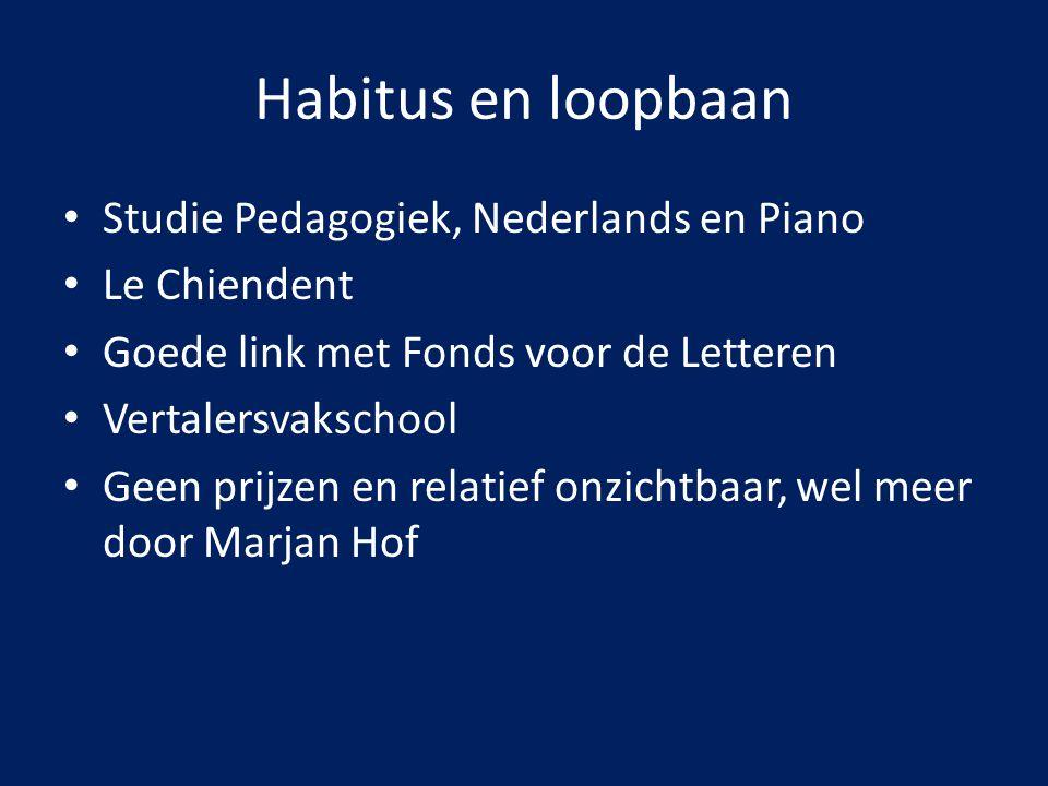 Habitus en loopbaan Studie Pedagogiek, Nederlands en Piano