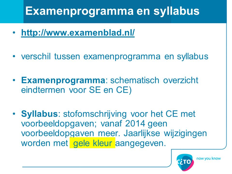 Examenprogramma en syllabus