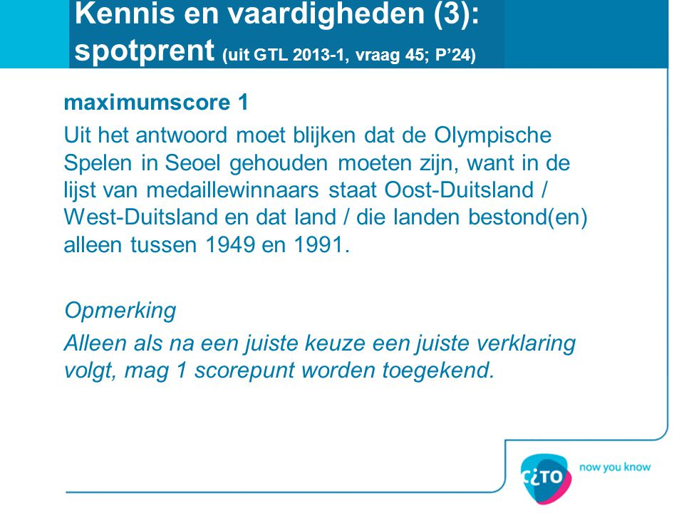 Kennis en vaardigheden (3): spotprent (uit GTL 2013-1, vraag 45; P'24)