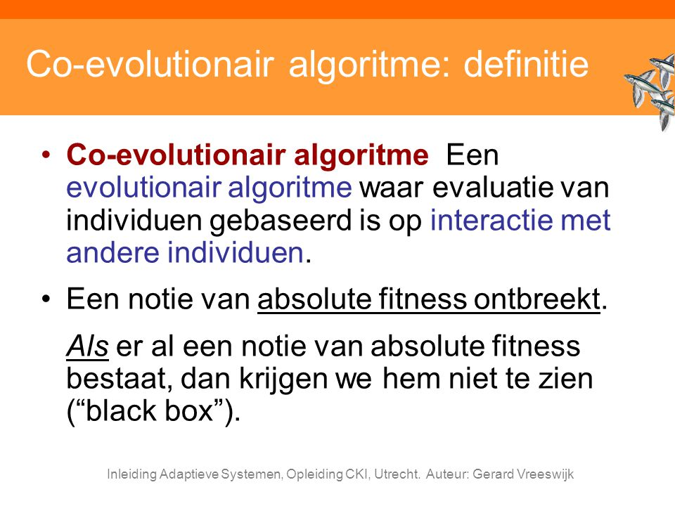 Co-evolutionair algoritme: definitie