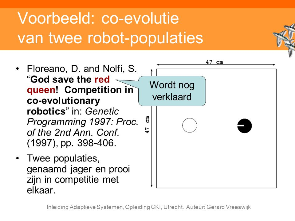 Voorbeeld: co-evolutie van twee robot-populaties