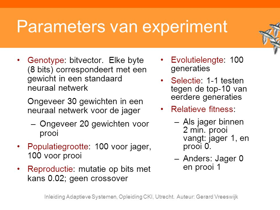Parameters van experiment