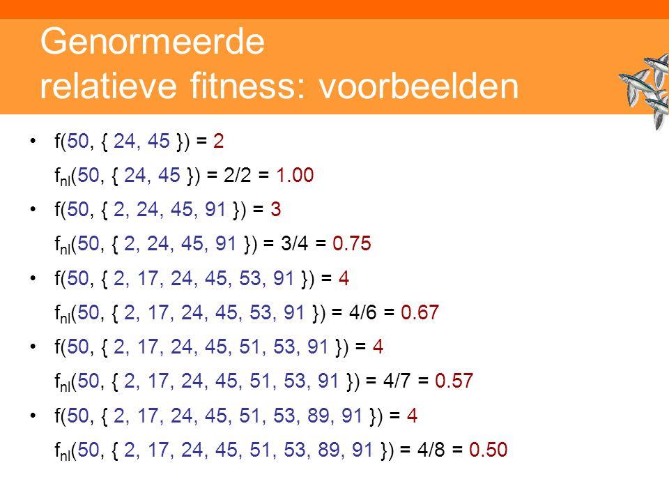 Genormeerde relatieve fitness: voorbeelden