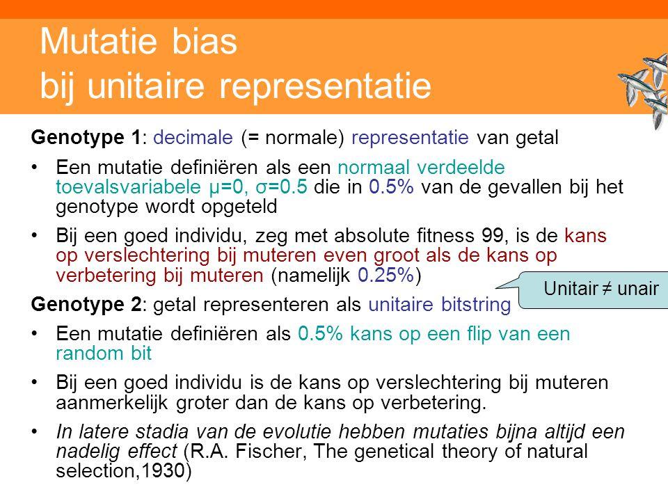 Mutatie bias bij unitaire representatie