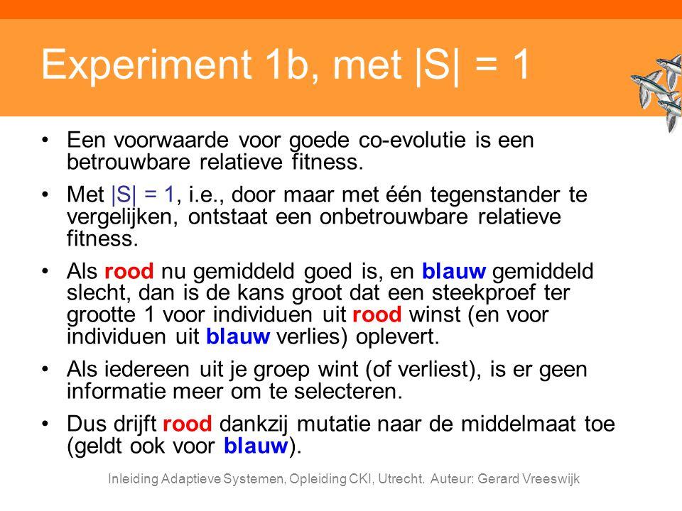 Experiment 1b, met |S| = 1 Een voorwaarde voor goede co-evolutie is een betrouwbare relatieve fitness.
