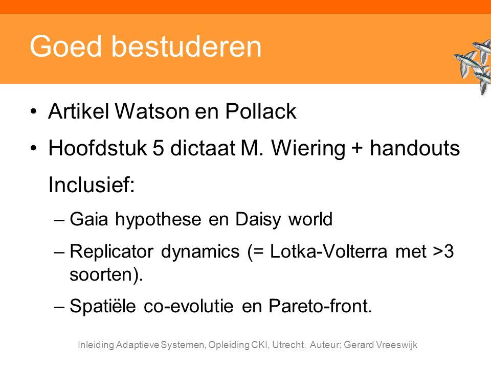 Goed bestuderen Artikel Watson en Pollack