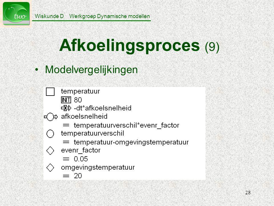 Afkoelingsproces (9) Modelvergelijkingen