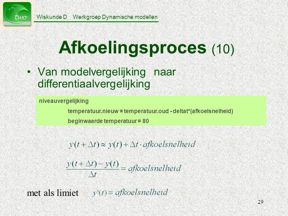 Afkoelingsproces (10) Van modelvergelijking naar differentiaalvergelijking. niveauvergelijking.