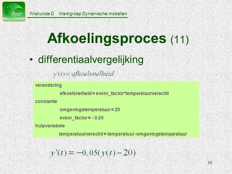 Afkoelingsproces (11) differentiaalvergelijking verandering