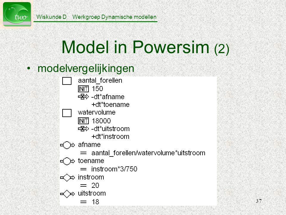Model in Powersim (2) modelvergelijkingen